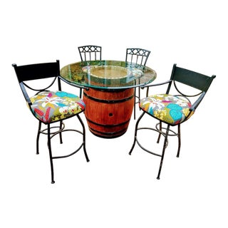 Red Oak Hand Stained Wine Barrel Table & 4 High Swivel Stools