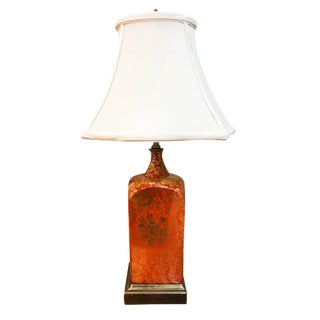 Vintage Orange and Gilt Floral Lamp