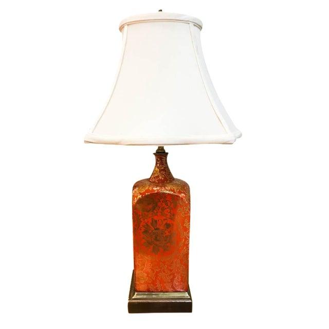 Vintage Orange and Gilt Floral Lamp - Image 1 of 5