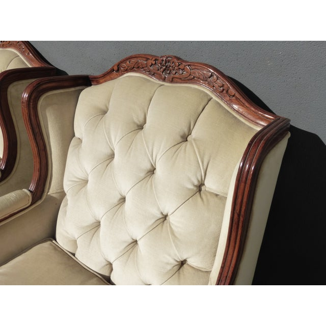 Pair of Bernhardt Tufted Wing Back Velvet Chairs - Image 7 of 11