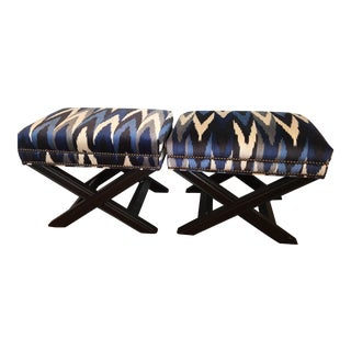 Custom Schumacher Velvet X Benches - A Pair