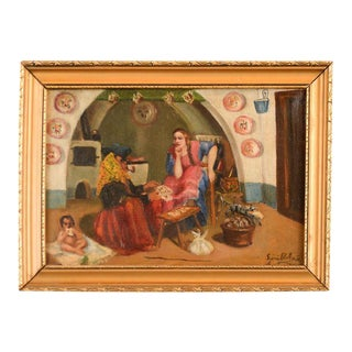 Italian Oil Painting of a Tarot Card Reader