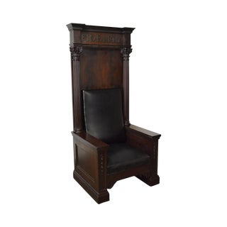 "Antique High Back Mahogany Masonic Throne Chair ""Fidelity"""