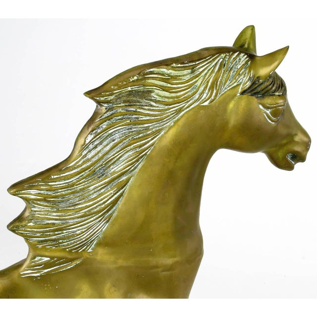 "Unusual 35"" Tall Brass Rocking Horse - Image 6 of 8"