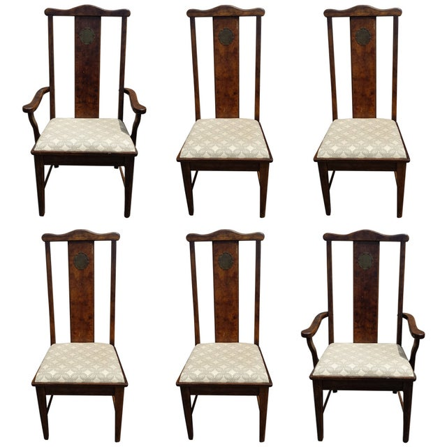 Asian Chinoiserie Style Dining Chairs - Set of 6 - Image 1 of 7