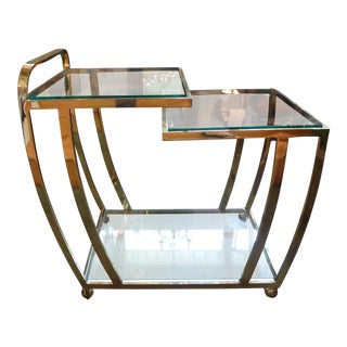Italian Mid-Century Modern Brass & Glass Bar Cart