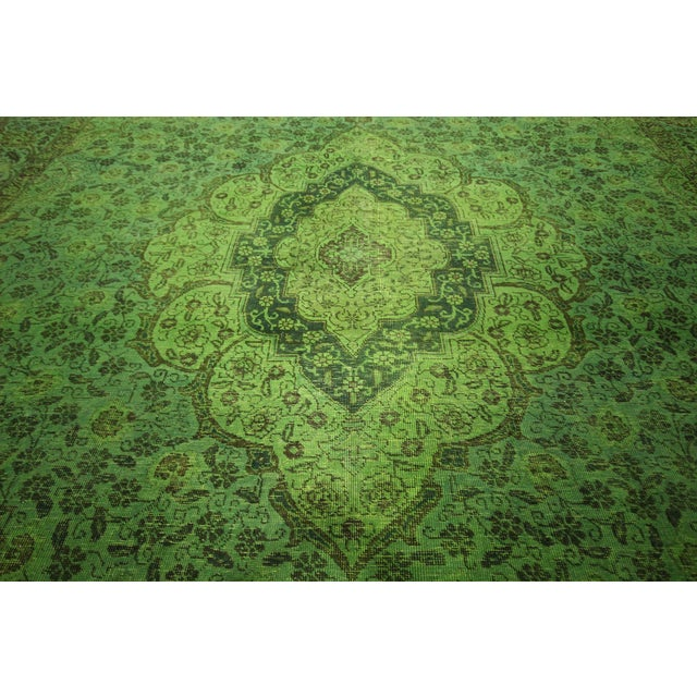 """Lime Green Overdyed Tabriz Area Rug - 9'5"""" x 12' - Image 8 of 10"""