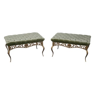 French Louis XV Gilt Metal Tufted Benches - Pair
