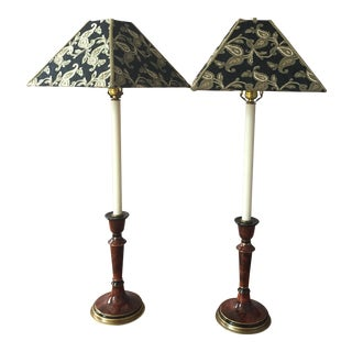Frederick Cooper Faux Burled Wood Lamps - A Pair
