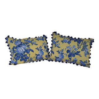 French Country Yellow, Blue & White Pillows- A Pair