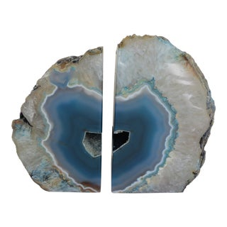 Agate Blue Bookends - A Pair