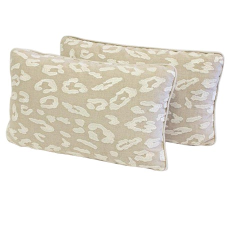 Image of Fabricut Embroidered Leopard Linen Pillow