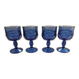 Vintage Tiffin Light Cobalt Blue King's Crown Cordial Glasses - Set of 4