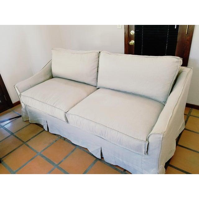 Linen Sofa With Down Wrap Cushions Chairish