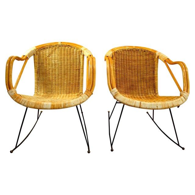 Midcentury Rattan and Wicker Rockers- A Pair - Image 1 of 11