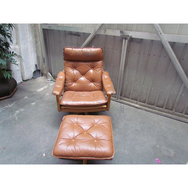 Lied Mobler Mid-Century Leather Recliner Chair & Ottoman - Image 5 of 9