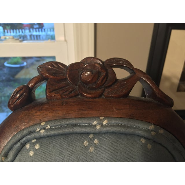 Antique Victorian Blue Parlor Chair - Image 4 of 6
