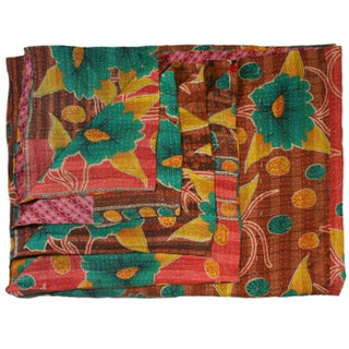 Vintage Aqua and Tan Kantha Quilt