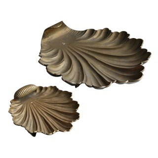 Brass Shell Trays - A Pair