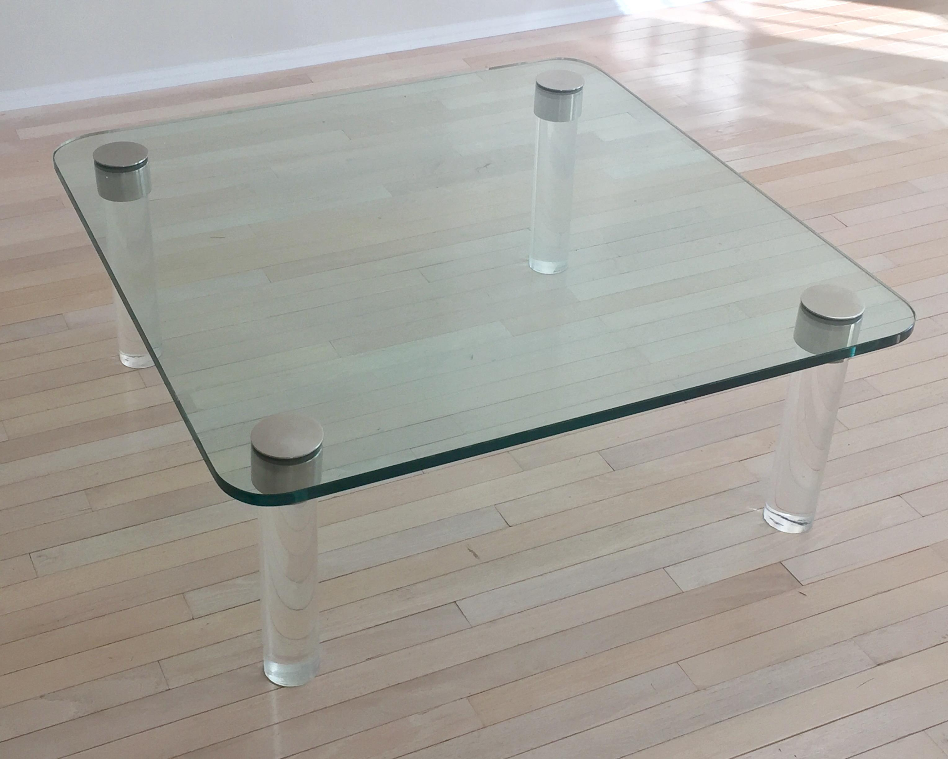 Pace Glass Chrome Coffee Table With Lucite Legs Chairish