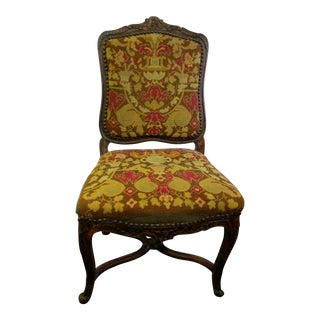 Antique French Carved Needlepoint Chair