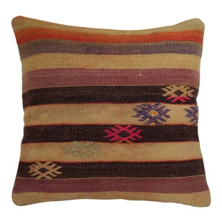 Vintage Turkish Handmade Wool Kilim Pillowcase