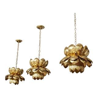 Series of Brass Lotus Blossom Pendants