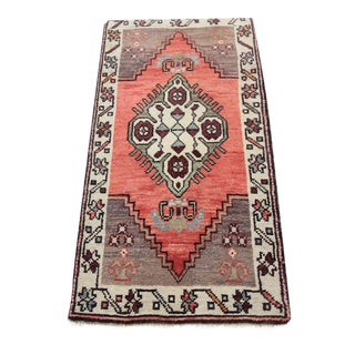 1'8 X 3'1 Mid-20th C. Vintage Antique Tribal Oushak Hand Knotted Turkish Rug