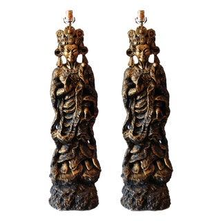 Monumental Vintage Asian Figural Lamps - A Pair