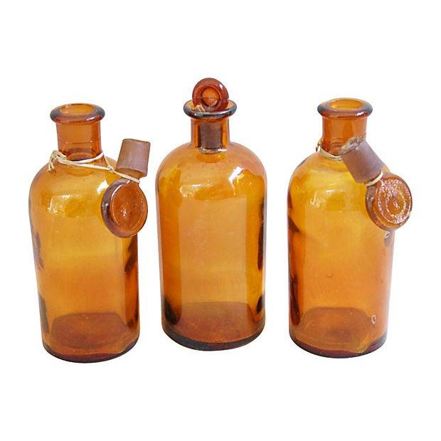 Image of Amber Antique French Apothecary Bottles - Set of 3