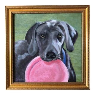 """Frisbee Anyone?"" Dog Oil Portrait"