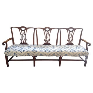 Antique 19th Century Chippendale Mahogany Bench
