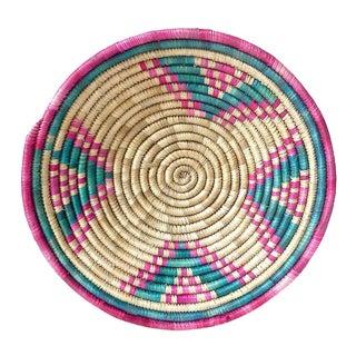 Vintage African Pink & Green Coiled Basket
