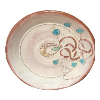 Mid-Century Handmade and Decorated Pottery Plate