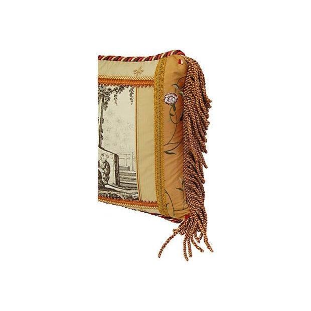 Designer Brunschwig Fils Toile Silk Accent Pillow - Image 3 of 5