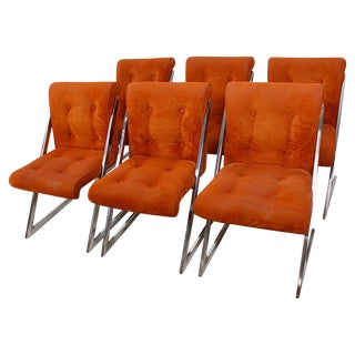 "Deep-Auburn Milo Baughman ""Z"" Chairs - Set of 6"