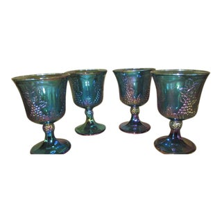 Blue Stemmed Carnival Goblets - Set of 4