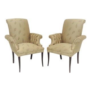 French Style Tufed Fireside Chairs - a Pair