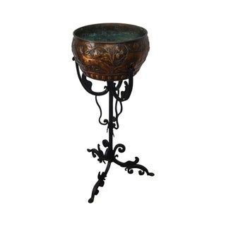 Antique Wrought Iron Gothic Planter on Stand