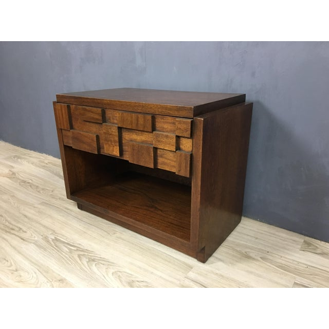 "Mid-Century Lane Brutalist ""Mosaic"" Highboy Bureau - Image 7 of 8"