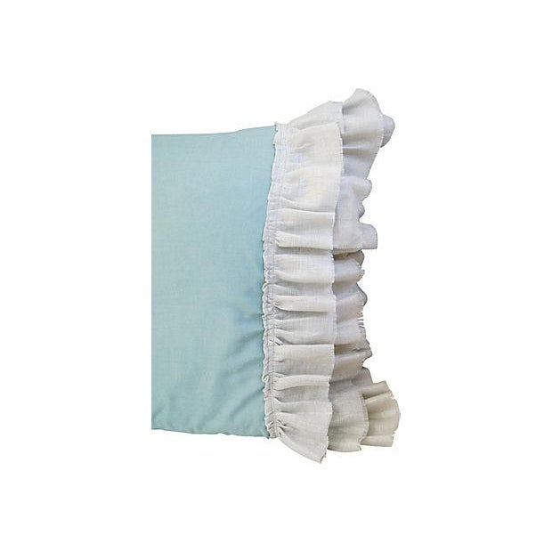 Desginer French Linen & Ruffle Trim Pillows - Pair - Image 4 of 4