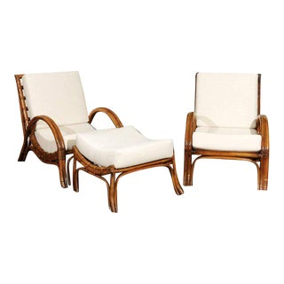 Stylish Restored Pair of Rattan Loungers with Matching Ottoman, circa 1960