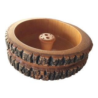 Vintage Carved Wood Nut Bowl