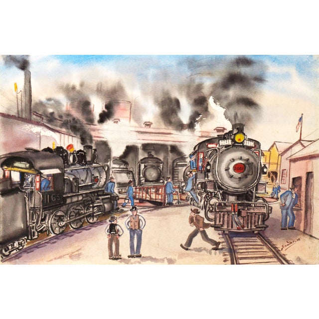 1970s Railway Depot Watercolor Painting - Image 1 of 6