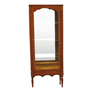 Louis XVI-Style Walnut Vitrine Curio Cabinet