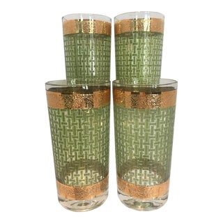 Mid-Century Green Basketweave & 22k Gold Rim Highball Tumblers - Set of 4