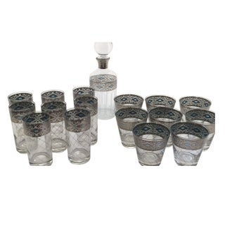 Culver Glasses - 8 Highball 8 Lowball & Decanter
