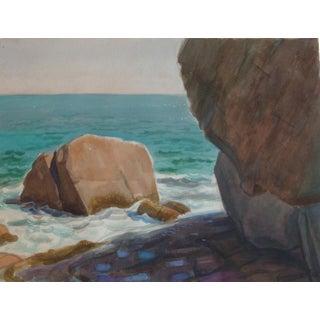 Rocky Coastal Seascape Watercolor