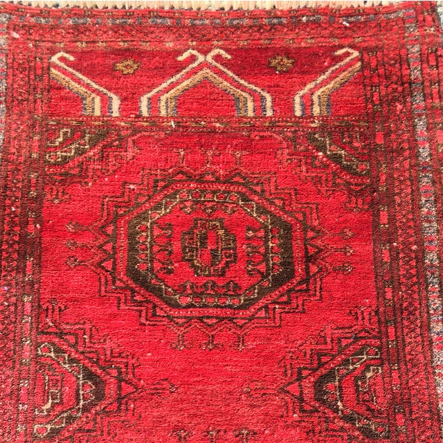 """Antique Turkaman Red Persian Rug - 1'10"""" x 2'10"""" - Image 4 of 7"""