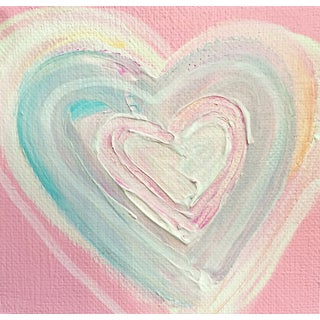 Cotton Candy Heart Painting by Linnea Heide